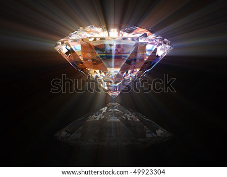 beautiful diamond with a shine and a reflection over a black background - stock photo