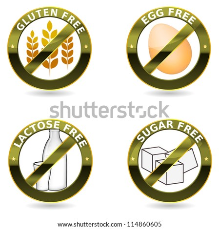 Beautiful diet icons. Gluten free, lactose free and egg free. Can be used as a stamp, emblem, seal, badge, on a packaging etc. Beautiful harmonic colors and elegant design.