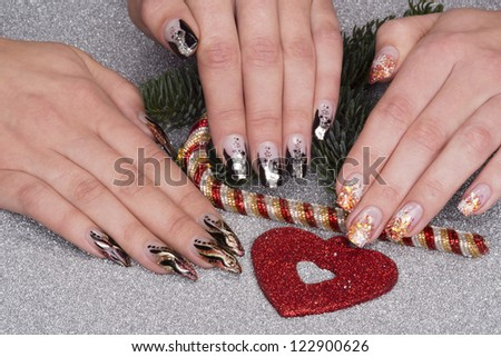 beautiful different hands with fresh manicured stylish nails