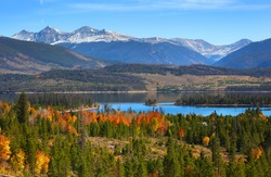 Beautiful Dillon reservoir landscape in Colorado in Autumn time