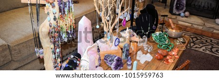 Beautiful display of crystals for healing or manifesting #1015959763
