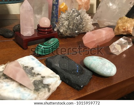 Beautiful display of crystals for healing or manifesting