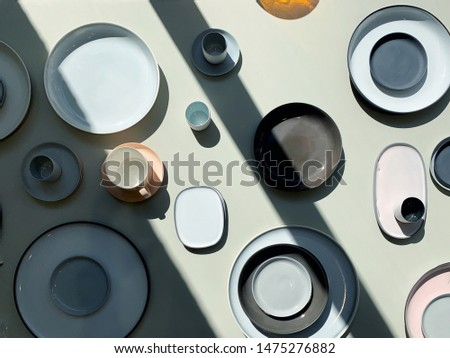 Beautiful display of elegant minimalistic Scandinavian design kitchenware products