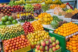 beautiful display of fruits at Paloquemao Market Square, Bogota, Colombia