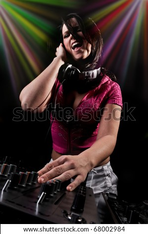 Beautiful DJ Girl Singing with Club Lights in the background
