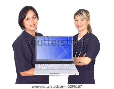 beautiful doctors with a lap-top on white, waves on screen, both images are from photographers portfolio