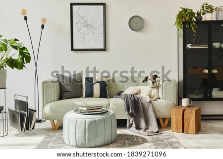 Beautiful dog lying on the green sofa at stylish loft interior with green sofa, design pouf, mock up poster map, furniture,  carpet, plants and decoration .
