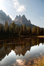 Beautiful Dolomite landscape of a Mountain Reflection in a Lake. The Alps of Northern Italy.