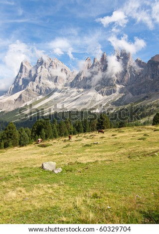 Beautiful dolomites alps landscape