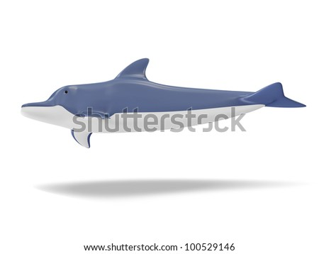 Beautiful Dolphin isolated on white background - stock photo