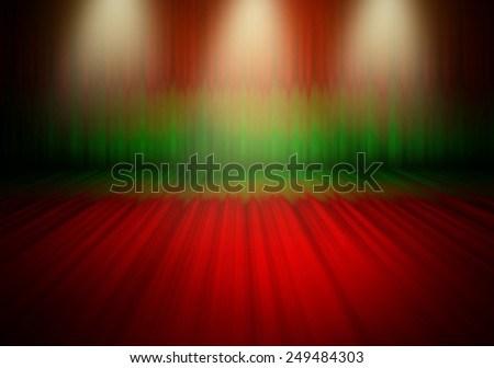 Beautiful  3 downlight\ red and green curtain stage light bright shine on floor shadow in the empty room