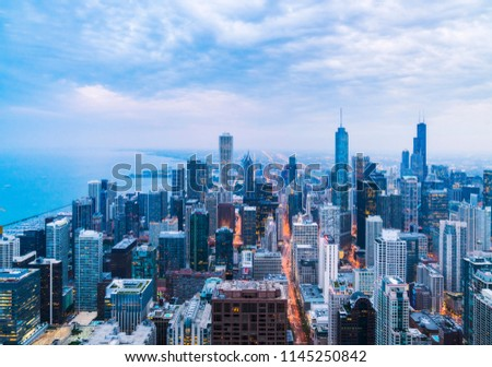 beautiful downtown Chicago skyline at night #1145250842