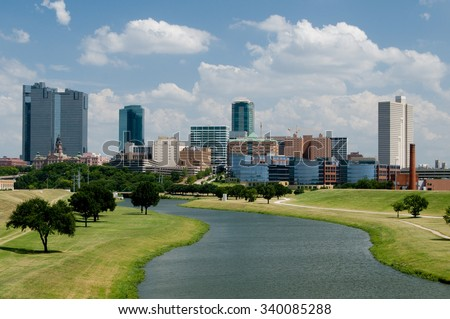 Beautiful downtown Fort Worth, Texas skyline on a sunny afternoon.