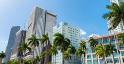 Beautiful Downtown Miami skyline at sunset, Florida.
