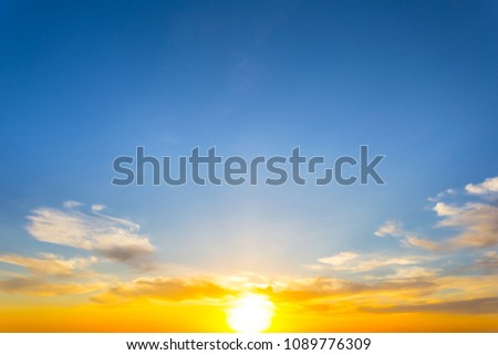 beautiful dramatic evening sky with golden sunset #1089776309