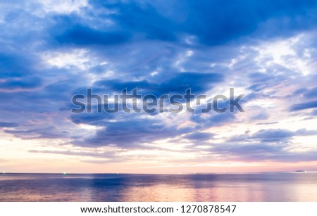 Beautiful  dramatic  golden  sky  over  the  sea  and  reflection  at  sunset  time #1270878547