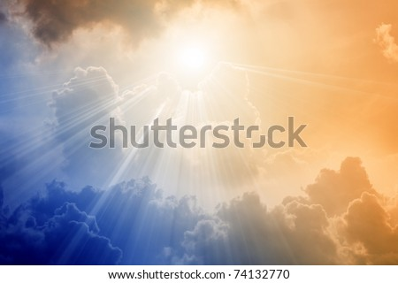 Beautiful dramatic sky - bright light from above
