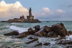 Beautiful dramatic sky clouds monsoon climate at Kanyakumari beach Tamilnadu, South India.