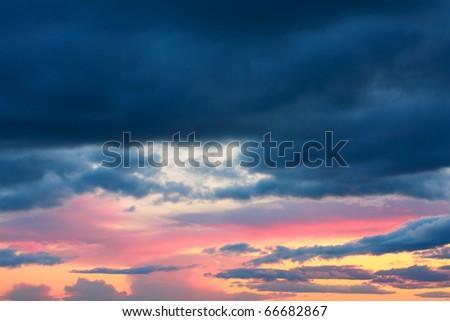 Beautiful, dramatic sky of the sunset