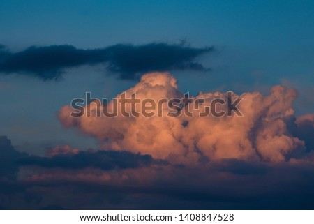 Beautiful dramatic sunrise skyscape background with clouds #1408847528