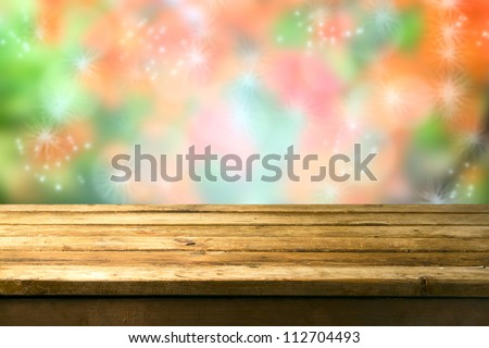 Beautiful dreamy background with wooden deck table