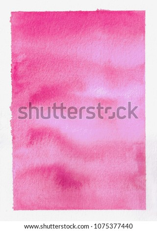 beautiful dreamy hand painted hazy pink watercolor in a square shape, isolated on white background, fine textured paper #1075377440