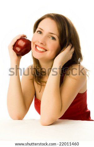 beautiful dreamy young woman with an apple isolated against white background