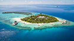 Beautiful drone aerial view of w Maldives