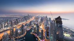 Beautiful Dubai Marina area and sea shore during sunset at evening, Dubai, UAE