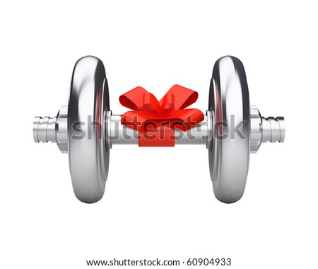 beautiful dumbbell gift with red ribbon