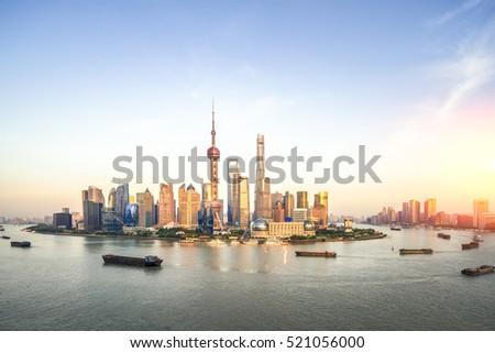 beautiful dusk scene of shanghai skyline and huangpu river   #521056000