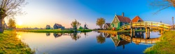 Beautiful Dutch scenery panorama of Zaanse Schans windmill village in Netherlands
