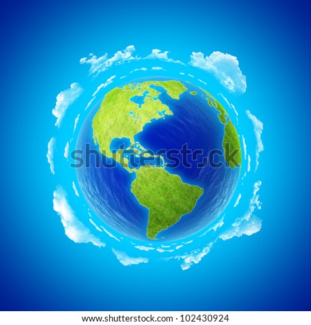 Beautiful Earth with clouds. Western hemisphere. North and South America. Little tiny planets collection.