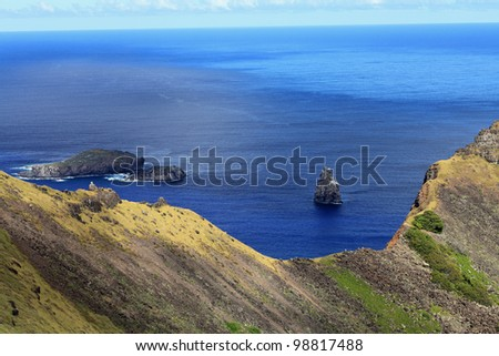 Beautiful Easter Island in the South Pacific, with Birdman Island
