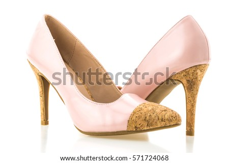 Beautiful elegance and luxury pink high heel isolated on white background #571724068
