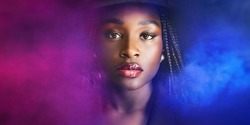 Beautiful elegant African American woman in a hat with 3d render, ultraviolet neon tlight in smog. glowing