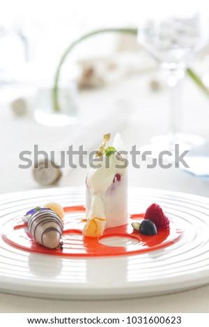 Beautiful elegant colorful dessert in a plate