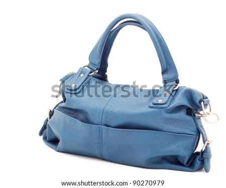 Beautiful elegant ladies handbag blue over white
