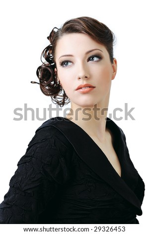 in style hairstyle. stock photo : Beautiful elegant woman with style hairstyle - isolated on