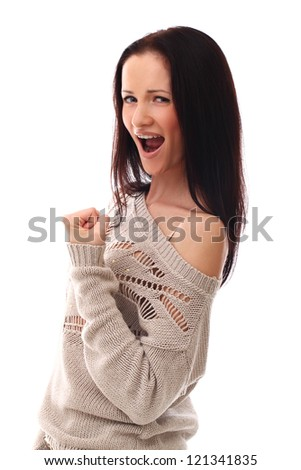 Beautiful emotional girl portrait over a white background - stock photo