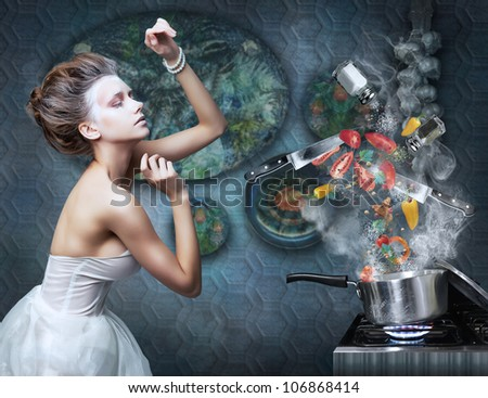 Beautiful Emotional Woman Housewife in Kitchen Interior Cooking. Art Creative concept. Stove