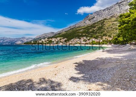 Beautiful Empty Sandy Beach Near Baska Voda - Baska Voda, Makarska, Dalmatia, Croatia Stock fotó ©