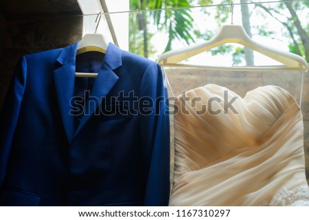 beautiful enamored couple - bride and groom on wedding day in summer #1167310297