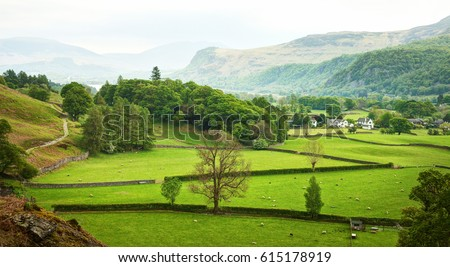 Beautiful  English countryside in spring, Lake District, Cumbria, England,  UK