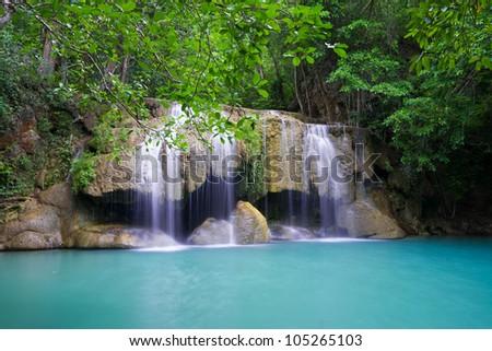Beautiful Erawan waterfall in Kanjanaburi Thailand