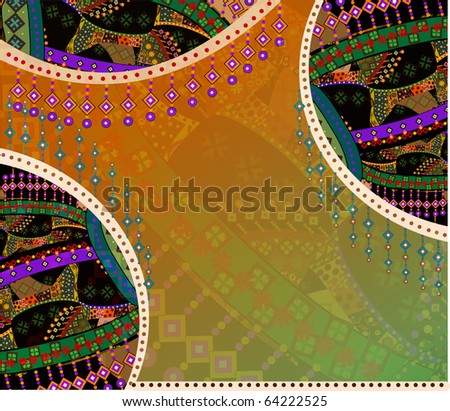 beautiful ethnic background of the various elements (raster version)