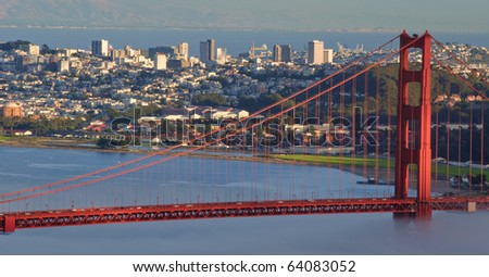 beautiful evening capture golden gate bridge, san francisco
