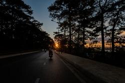 Beautiful evening photo of Dalat during sunset, Vietnam. Lam Dong province.