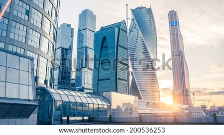Beautiful evening view of famous skyscrapers in Moscow City international business center, Moscow, Russia. Toned picture