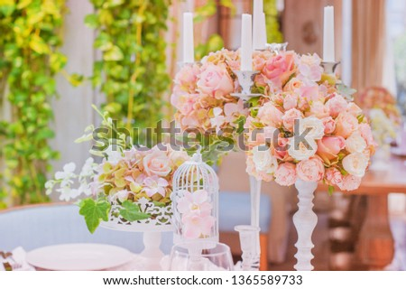 Flower Arrangement In A Hat Box On The Stock Photo 457810810